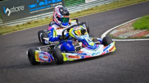 Holding off another kart at Wombwell BKC Round 8